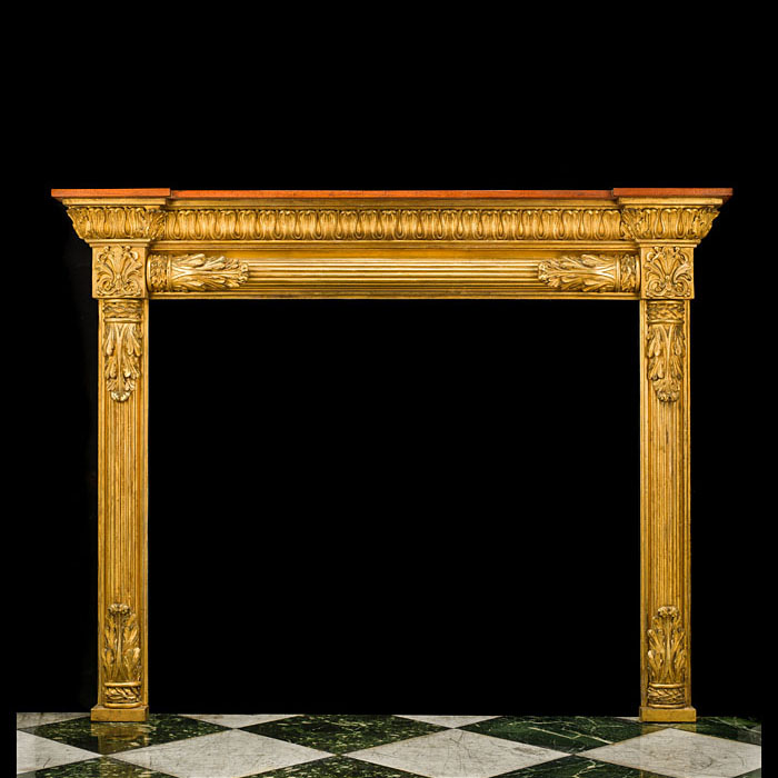 A Regency Pine Composition Giltwood Fireplace