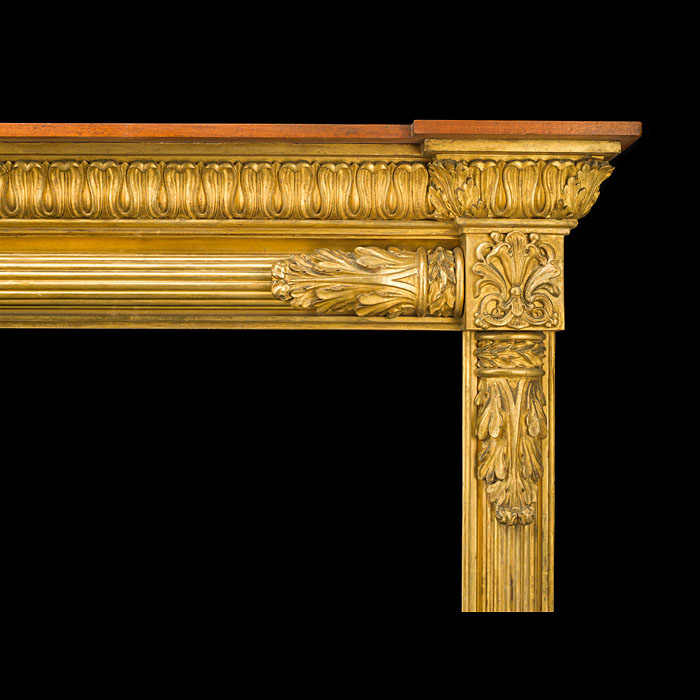 An Antique Regency Pine & Composition Giltwood Chimneypiece Mantel