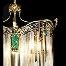 Furniture - Art Nouveau Chandelier Handel Leaded Glass Shades