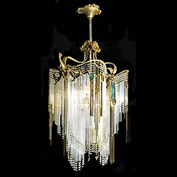 Antique Art Nouveau chandelier in the manner of Hector Guimard
