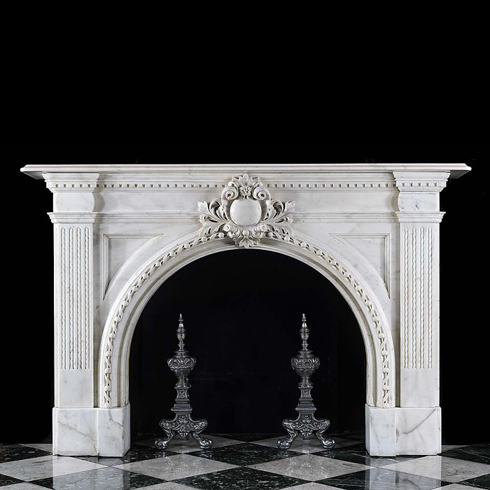 Large Antique Victorian white Marble fireplace with elaborate Ornamentation