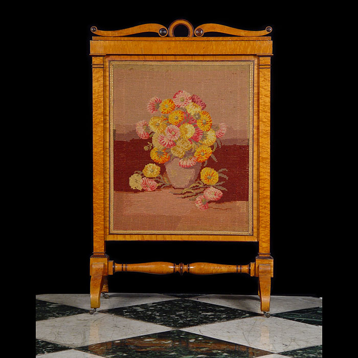 A Biedermeier Satinwood Antique Fire Screen