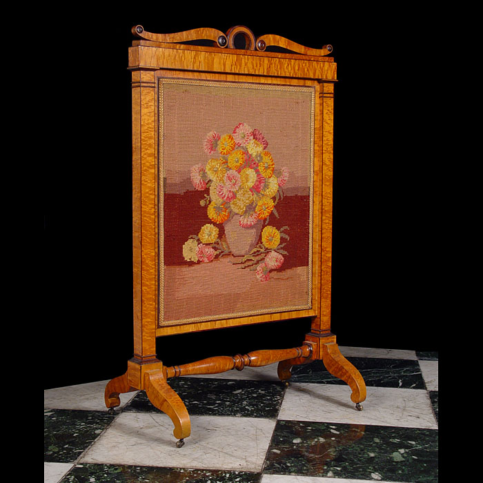 Antique Biedermeier Satinwood Guard with Wool work Panel