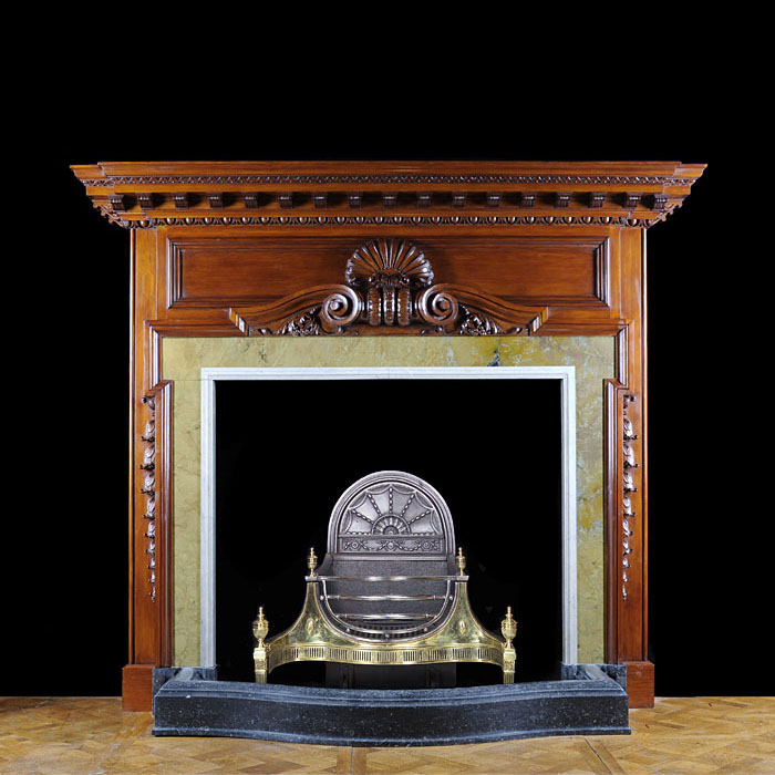 Pine English Baroque Style Chimneypiece