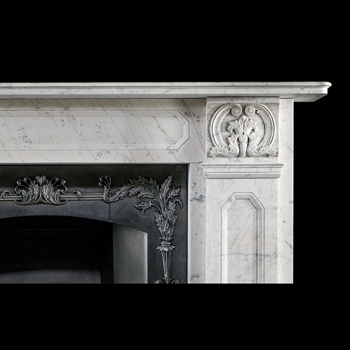 A small antique Regency Fireplace surround in veined Carrara marble