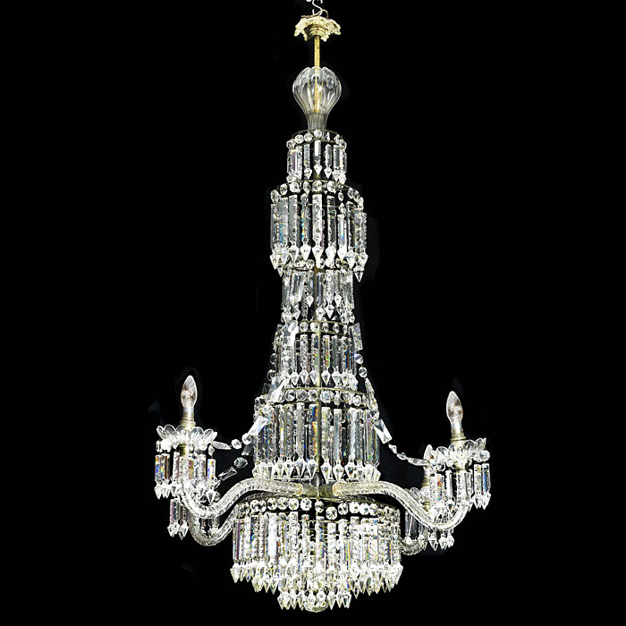 A large English Regency style crystal chandelier
