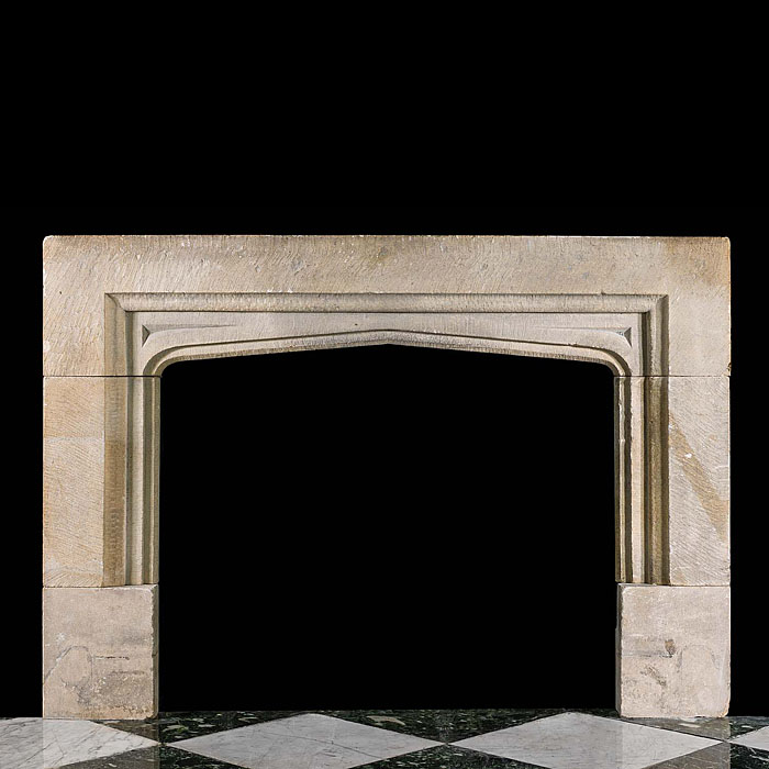 English Gothic Style Antique Stone Fireplace