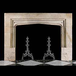 A 19th century limestone English Gothic style Antique chimneypiece