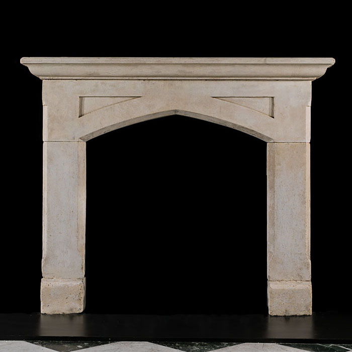 Gothic Revival Antique Limestone Fireplace