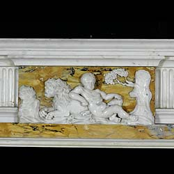 Antique George III fireplace in yellow Sienna and white Statuary Marble