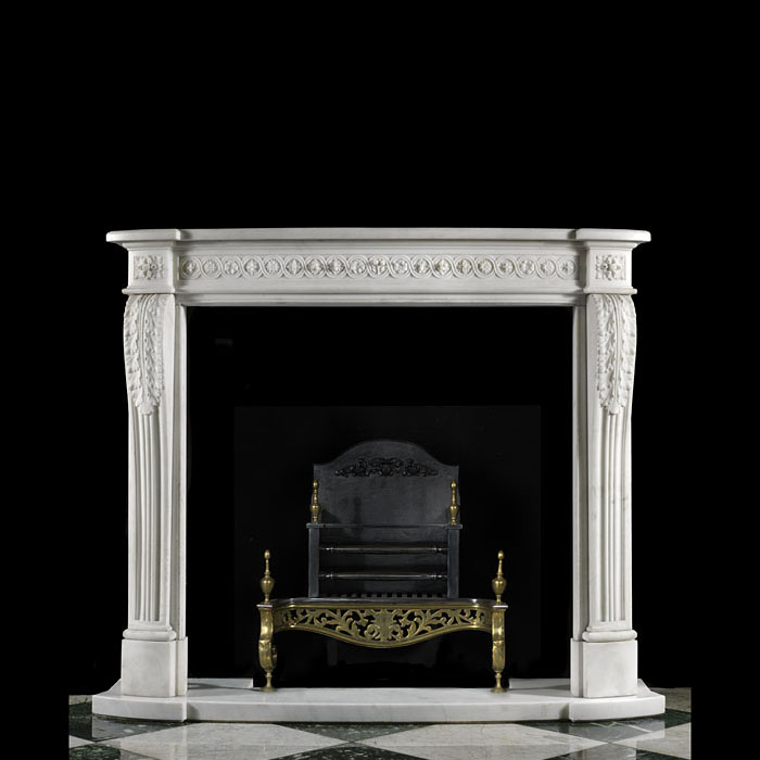A Small White Marble Louis XVI Fireplace