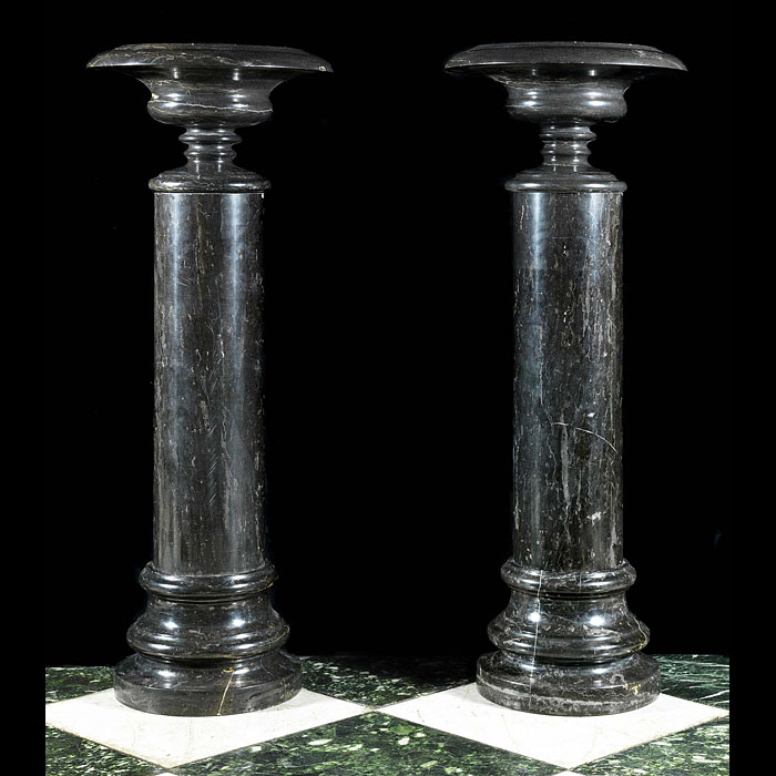 Antique Black Marble Columns with top Classical style Urns