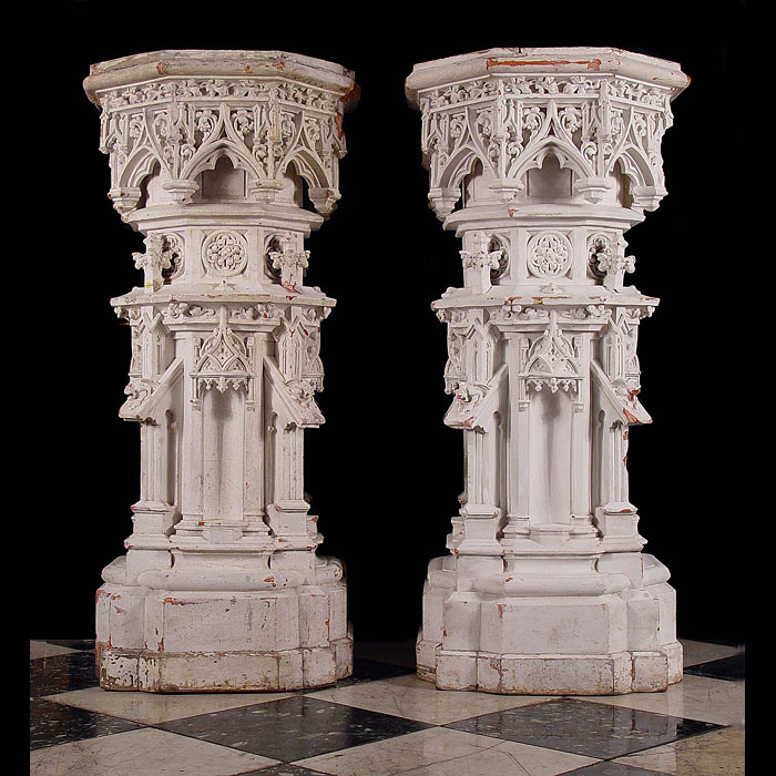 Antique Neo Gothic manner Terracotta Pedestals, Victorian