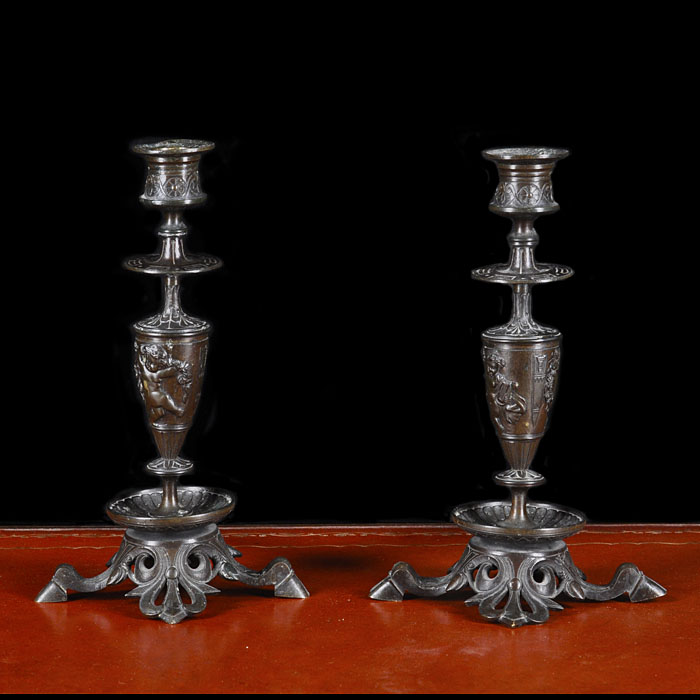 Victorian pair of small bronze candlesticks