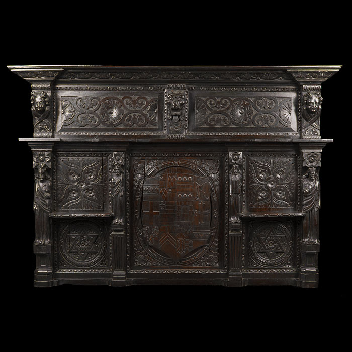 A Jacobean Style Carved Oak Overmantel