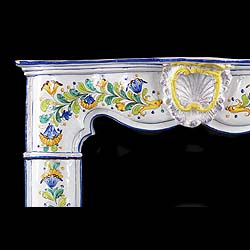 Antique hand-painted Ceramic Italian Rococo manner Fireplace