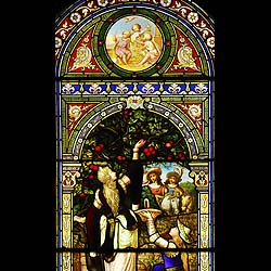 Antique stained glass window non ecclesiastical.