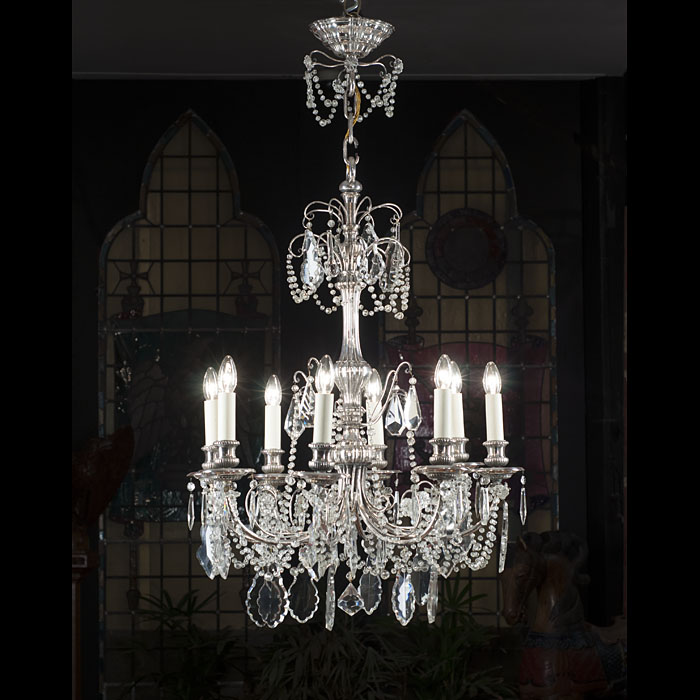A silver plated crystal chandelier