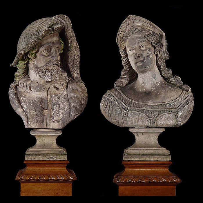 11742: A PAIR OF LIFESIZE BUSTS IN THE ITALIAN RENAISSANCE MANNER OF A NOBLEMAN AND HIS LADY. Made in white Terra Cotta stoneware.  Images before restoration and cleaning. English, 19th Century.  Link to: An