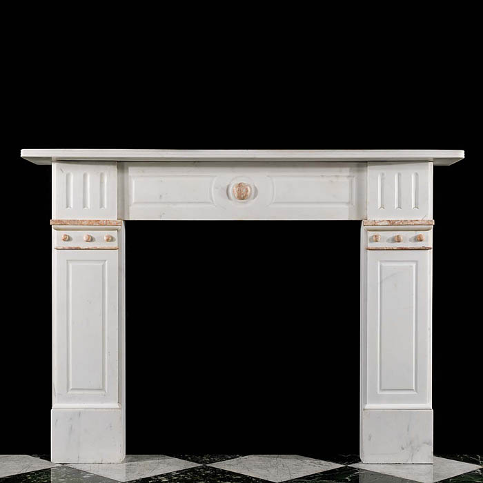Antique Victorian white statuary marble chimneypiece
