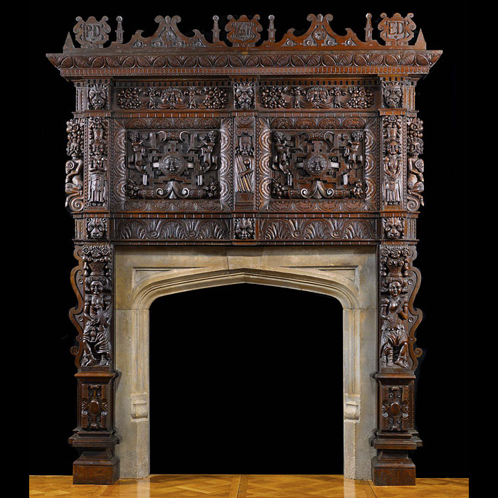 Antique Massive carved Oak Jacobean Fireplace with Overmantle