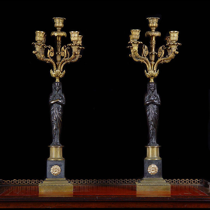 Antique Bronze Candelabra with Five Branches in an Egyptian Revival style