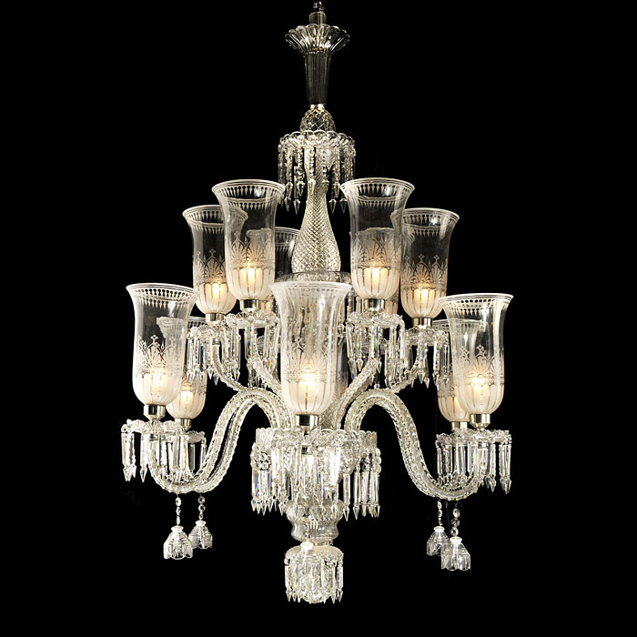 Georgian style cut glass and crystal chandelier