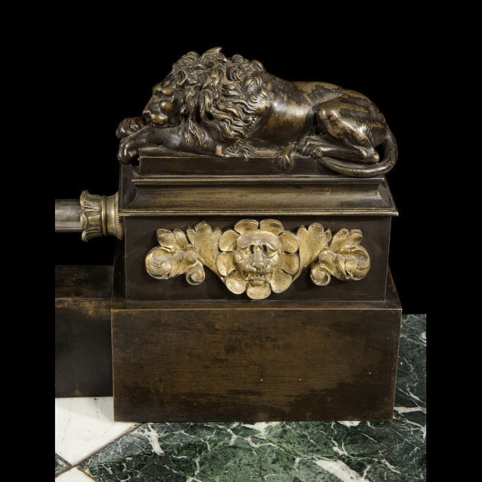 Antique French Empire patinated bronze lion Fender