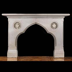 Antique Neo Gothic Limestone fireplace with Original Register Grate