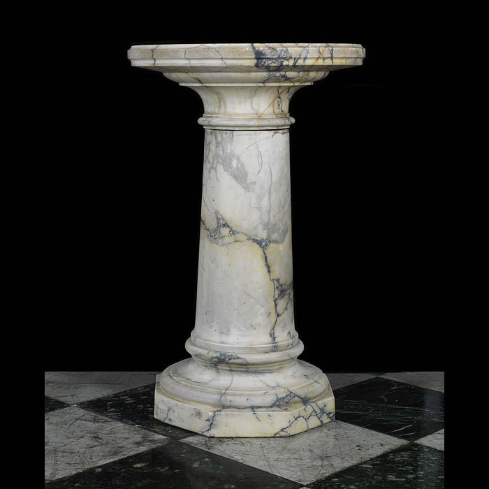 Antique White Marble Neo Classical Cylindrical Plinth with rotating top
