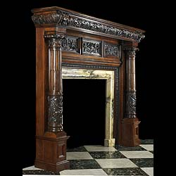 Antique carved Oak fireplace matel in the Italian Renaissance revival manner