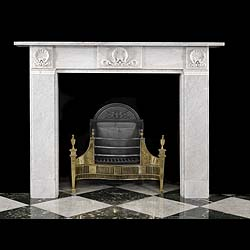 Antique mid 19th century Carrara Marble Victorian fireplace