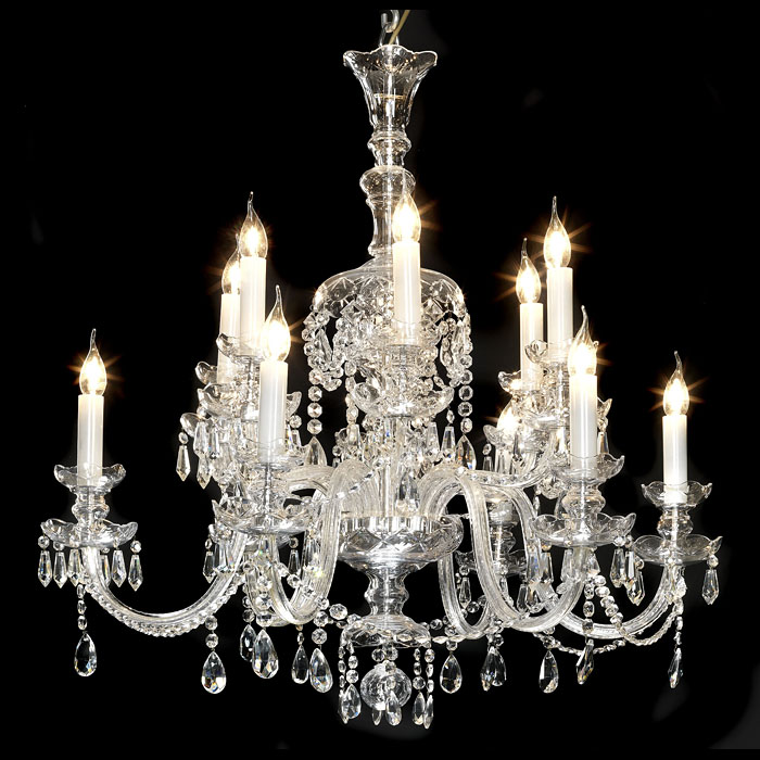 A crystal twelve branch early 20th century chandelier