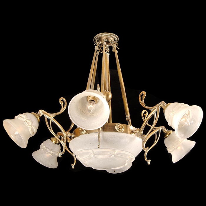 An Art Nouveau Style Six Light Chandelier
