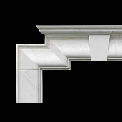 Antique White Statuary Marble Fireplace in a Bolection Art Deco style