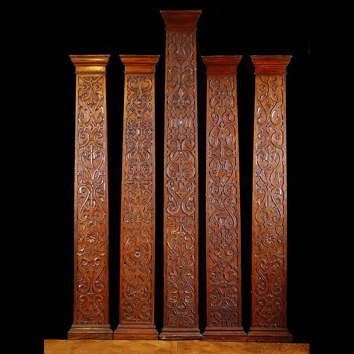 A Set of Eight Jacobean Style Oak Pilasters