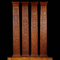 Antique Set of eight wood pilasters in the Jacobean style