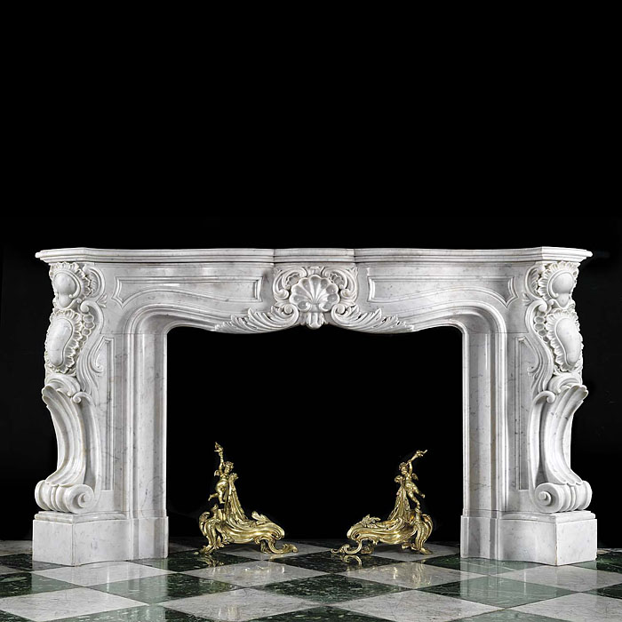 Antique Rococo veined Marble imposing French Cheminee
