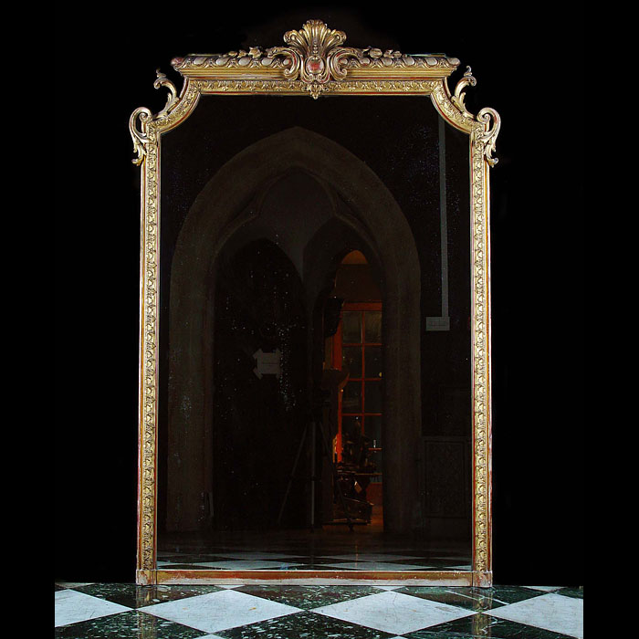 Antique French Louis XVI Gilded Pine Mirror with large Floral Cartouche
