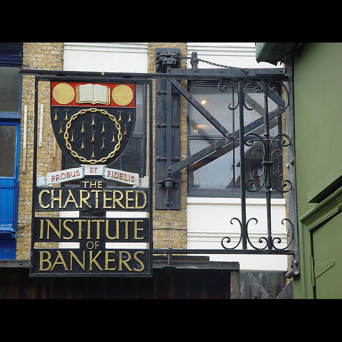 An antique company sign of The Chartered Institute of Bankers