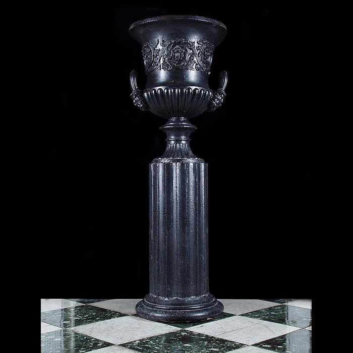 Antique Victorian Campana Urn on a Fluted Columnal Plinth in Cast Iron