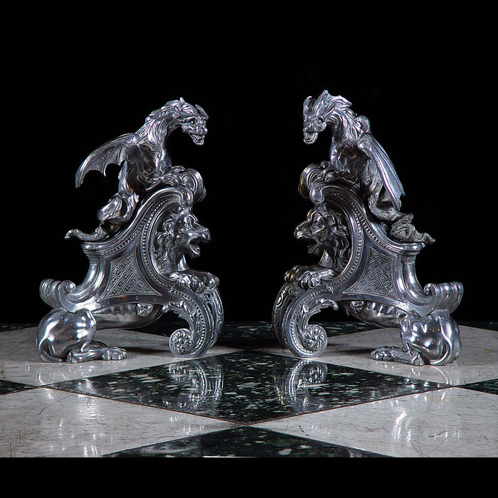 Grand pair of silvered bronze dragon chenet