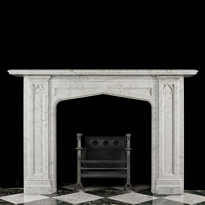 Antique Gothic Revival fireplace in Victorian white Pencil Statuary Marble