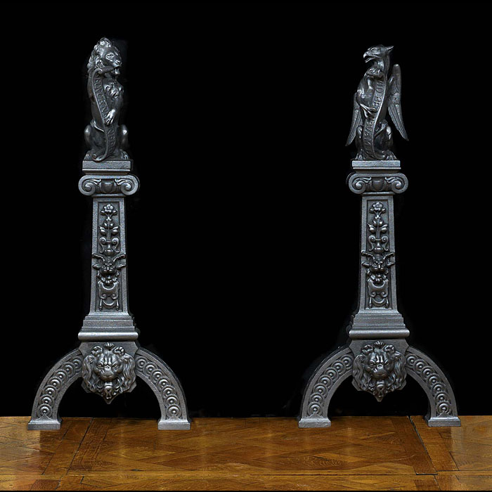 Baroque style pair of  cast iron griffin and lion Fire Dogs