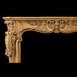 A very rare grand scale 18th century Louis XV style carved Limewood Rococo Chimneypiece
