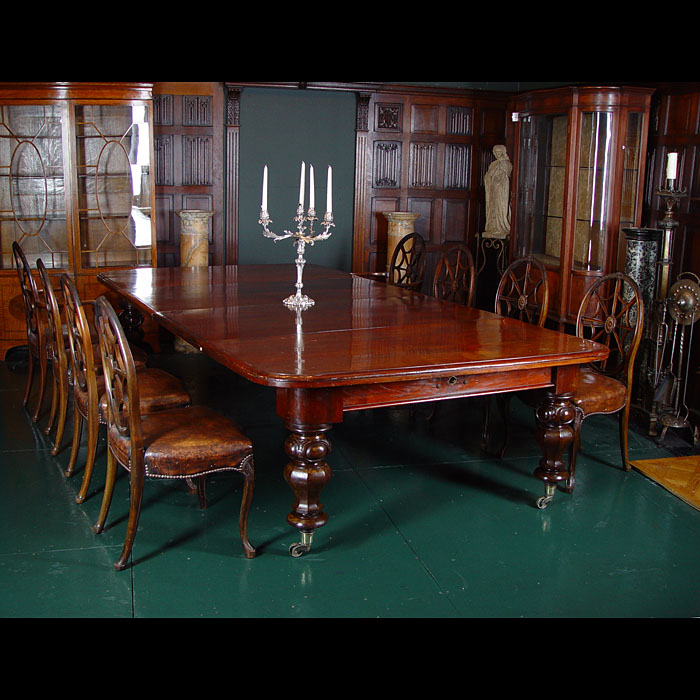 Antique Grand Mahogany William IV Dining Table with Extra Leaves