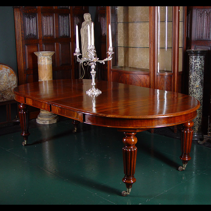 Antique Mahogany Dining Table with Moulded Edge and Reed Legs
