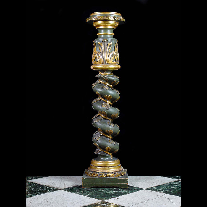 Antique Giltwood Salomonic Column with Vine Spiral Detail