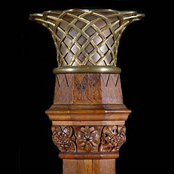 Antique Oak Jardiniere on a Pedestal in a Gothic Revival style