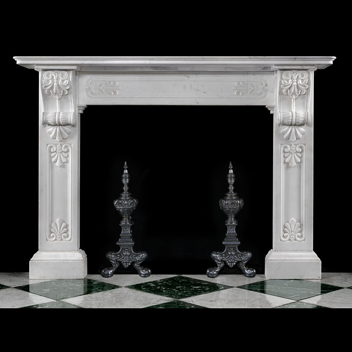 Antique Regency White Marble fireplace in a Greek Revival manner